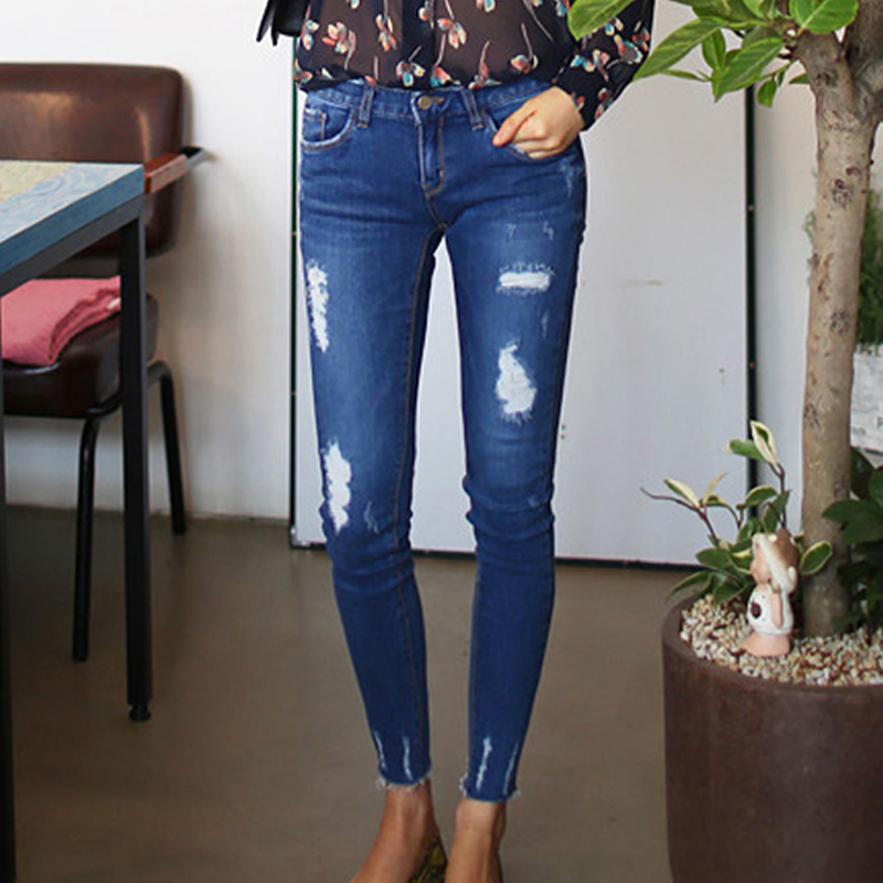 New Arrive Plus Size Hole Middle Waist Elastic Skinny Pencil Lady Pants Ankle Length Blue