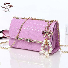 2018 New Fashion Women Shoulder Bags Pearl Crossbody Purse Chains Day Clutch Gril Mini Bag Candy Color Party Message Causual Bag