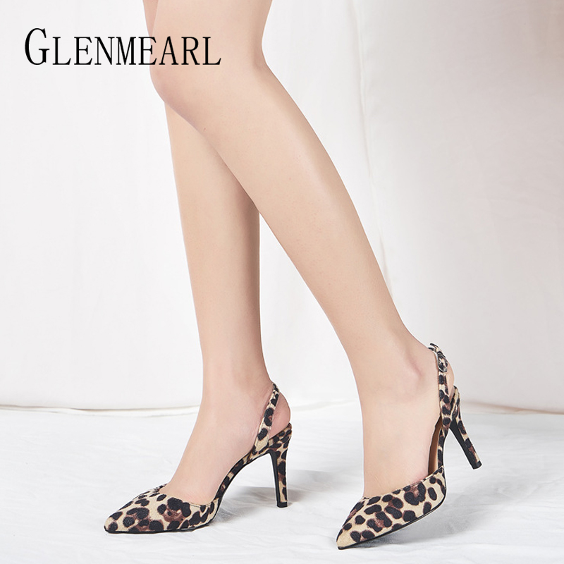 Women Shoes High Heels Sexy Leopard Woman Pumps Slingback Pointed Toe Buckle Strap Spring Summer Party Shoes Female Plus Size DE