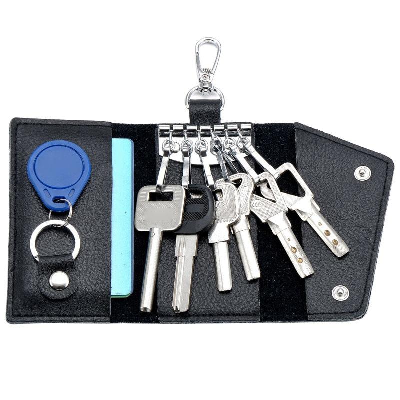 Key Holder Wallet Fashion Men Women 100% Genuine Leather Key Organizer Wallet Multi Function Case Housekeeper Holders 6 Key Ring