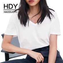 HDY Haoduoyi Femme Summer Simple Befree Sheer White Comfortable V-neck T-shirt Top Tees Harajuku Bodycon джемпер befree befree mp002xw1hy6m