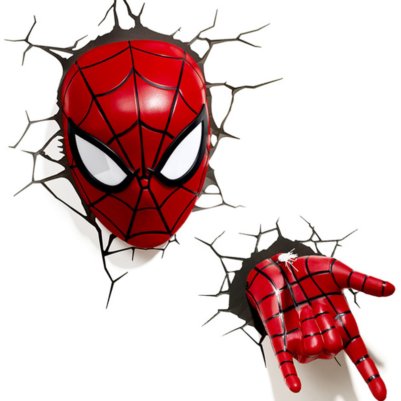 Avengers:Infinity War Superhero Tom Holland Spider-Man Mask With LED Light 3D The Amazing Spider-Man Decoration Wall Lamp S586 superior spider man volume 3