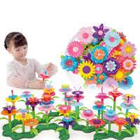 46pcs/set Dream Garden Series Girls Flower Interconnecting Blocks Toys Educational Assembly Blocks Creative DIY Bricks Toys Gift