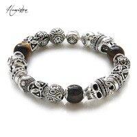 Hemiston Thomas Asia ETHNO Men Bracelet Tiger S Eye Skull King Taichi OM Beads Karma Bracelet