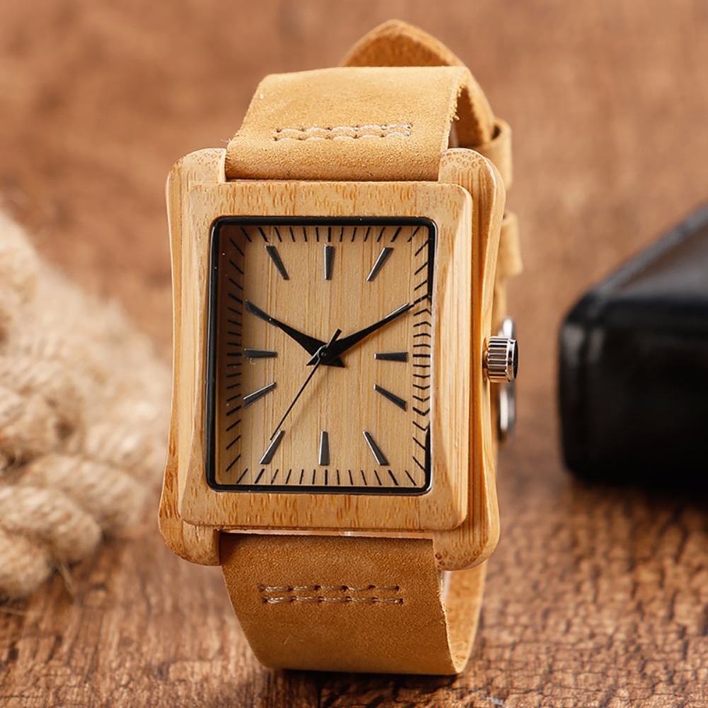 Creative Rectangle Dial Wood Watch Natural Handmade Light Bamboo Fashion Men Women Casual Quartz Wristwatch Genuine Leather Gift simple casual wooden watch natural bamboo handmade wristwatch genuine leather band strap quartz watch men women gift page 4