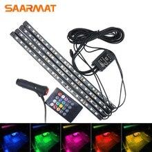 4Pcs led Indoor Ambient light 18smd 12smd 9smd-led Car RGB Strip DC12V Remote control lamp