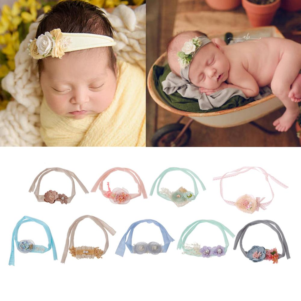 Newborn Photography Props Handmade Tieback Headwear Flower Headband Baby Girls