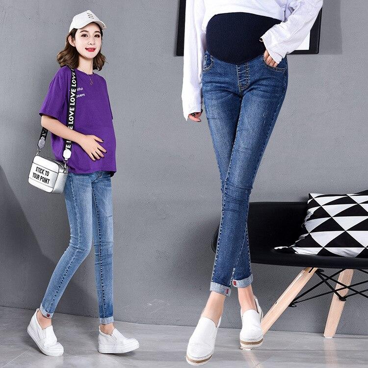 Mutterschaft Frauen Frühling Herbst Jeans Denim Knöchel Länge Einstellbare Elastische Taille Hosen Schwangerschaft Bauch Pflege Dünne Bein Hose|Jeans|   -