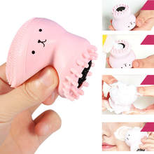 TOP Pink Cute Facial Cleansing Exfoliator Cute Silica Gel Massage Deep Cleaning Face Brush Cleanser(China)