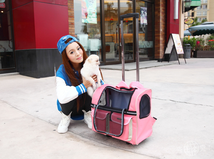 Portable Pet dog Trolley <font><b>bag</b></font> dog luggage stroller carrier <font><b>bag</b></font> with wheel small Puppy Dog Cat Travel tote <font><b>bag</b></font> backpack air box