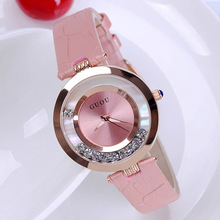 Fashion Guou Hot Sales Kvinnor Rolling Drill Watch Luxury Quicksand Presentklocka Watch Original Läder Klocka Rhinestone Armbandsur