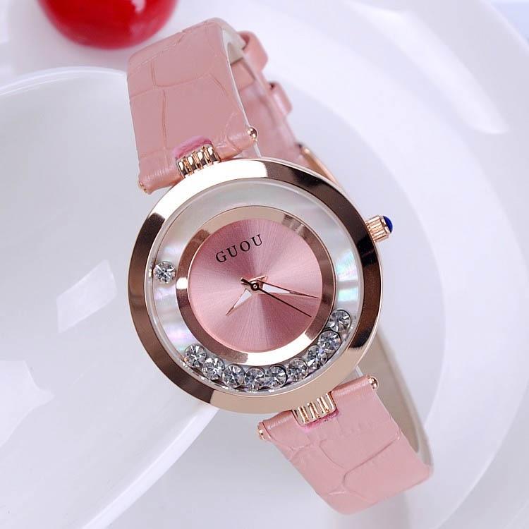 Manera de las ventas calientes mujeres Rolling Drill lujo Quicksand regalo reloj de vestir de cuero genuino reloj Rhinestone reloj