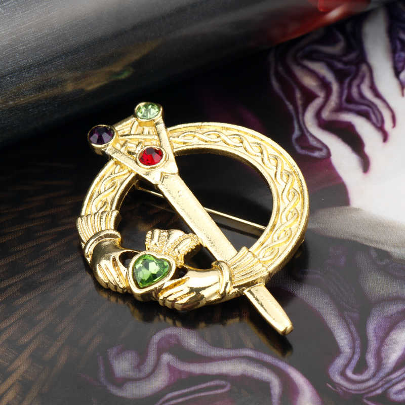 MQCHUN Irish Celtic Claddagh Emas Bros Untuk Wanita Fashion Baru Cinta Hati Crown Kristal Pin Bros perhiasan Pernikahan Hadiah