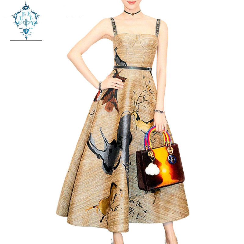 CUERLY Fashion 2019 Summer Vintage Graffiti Printing Spaghetti Strap Big Swing Long Party Dress Women Runway Strapless Dresses in Dresses from Women 39 s Clothing