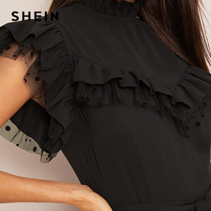 Image 3 - SHEIN Layered Ruffle Detail Belted Fit And Flare Dress 2019 Stand Collar Sleeveless Black Solid Women Spring Autumn Dresses