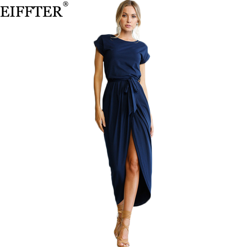 Eiffter solid dress casual verano de las mujeres vestidos maxis de las señoras s