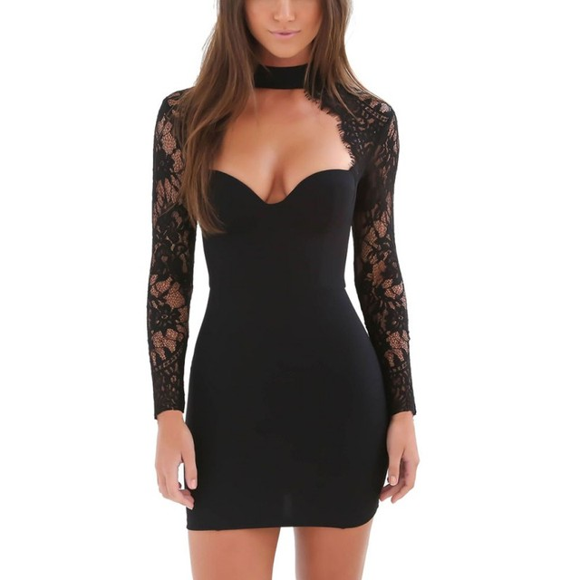Short Sexy Long Black Dress