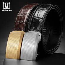 McParko Real Alligator Belt Genuine Leather Crocodile for Men Luxury Brand Stainless Steel Buckle Automatic Male Brown