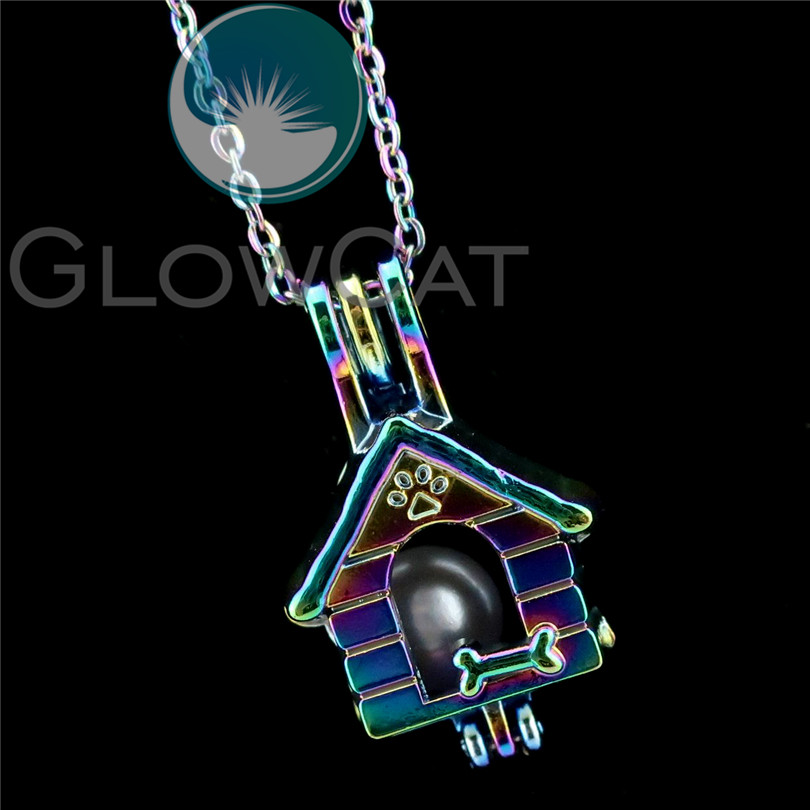 R-C645 Rainbow Colors Paw Dog Bone Pet Puppy House Beads Cage Pendant Perfume Diffuser Aromatherapy Pearl Cage Locket Necklace