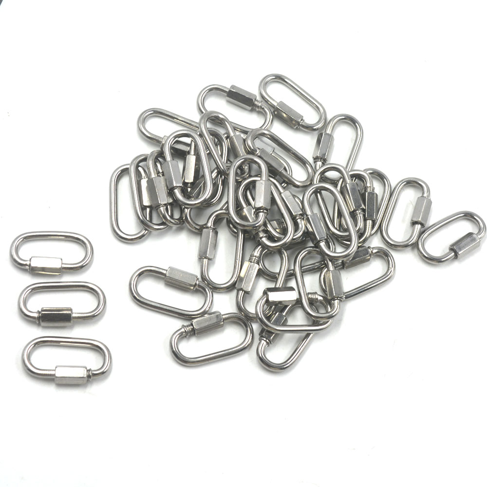 30PCS Multifunctional 304 Stainless Steel Carabiner Quick Oval Screwlock Link Lock Ring Hooks M3.5