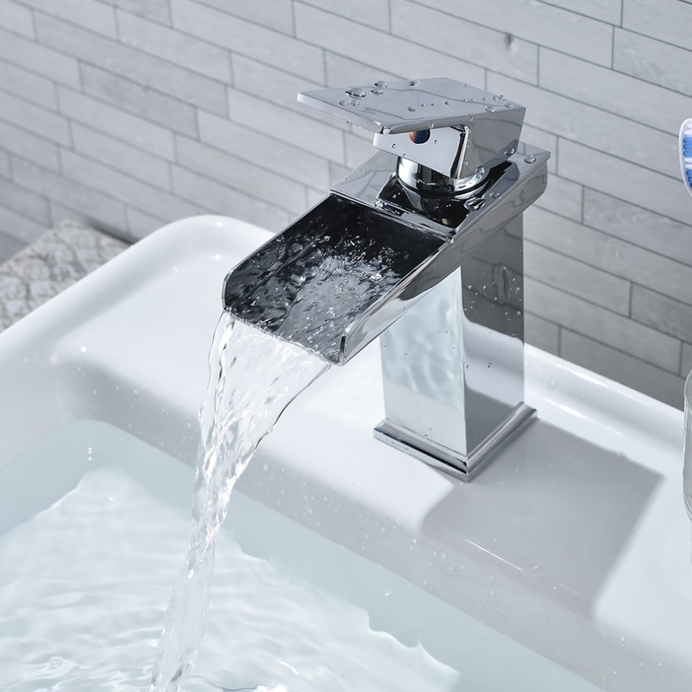 Waterfall Design Tap Sink Faucet Square Modern Chrome-plating ...
