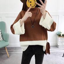 2018 Sweaters Women Autumn New long-sleeved Loose Knit Sweater O-neck Hit Color women's Sweaters And Pullovers Vestidos LXJ400(China)