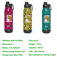 Water Bottle Bluetooth Wireless Music Player Stainless Steel Rainproof 3 Colors for Cycling Climbing Outdoor Activity