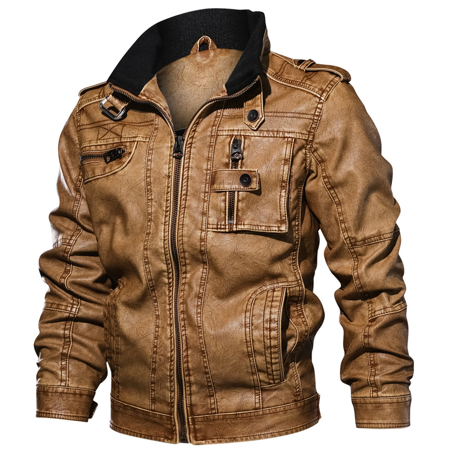 2019 Jackets Men Slim Fit Casual Outwear Bomber Jacket Winderbreaker PU Motorcycle Leather Jackets male new fur coat 6XL 7XL-in Faux Leather Coats from Men's Clothing