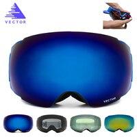 VECTOR New Brand Ski Goggles Double UV400 Anti fog Big Ski Mask Glasses Skiing Professional Men Women Snow Snowboard Goggles