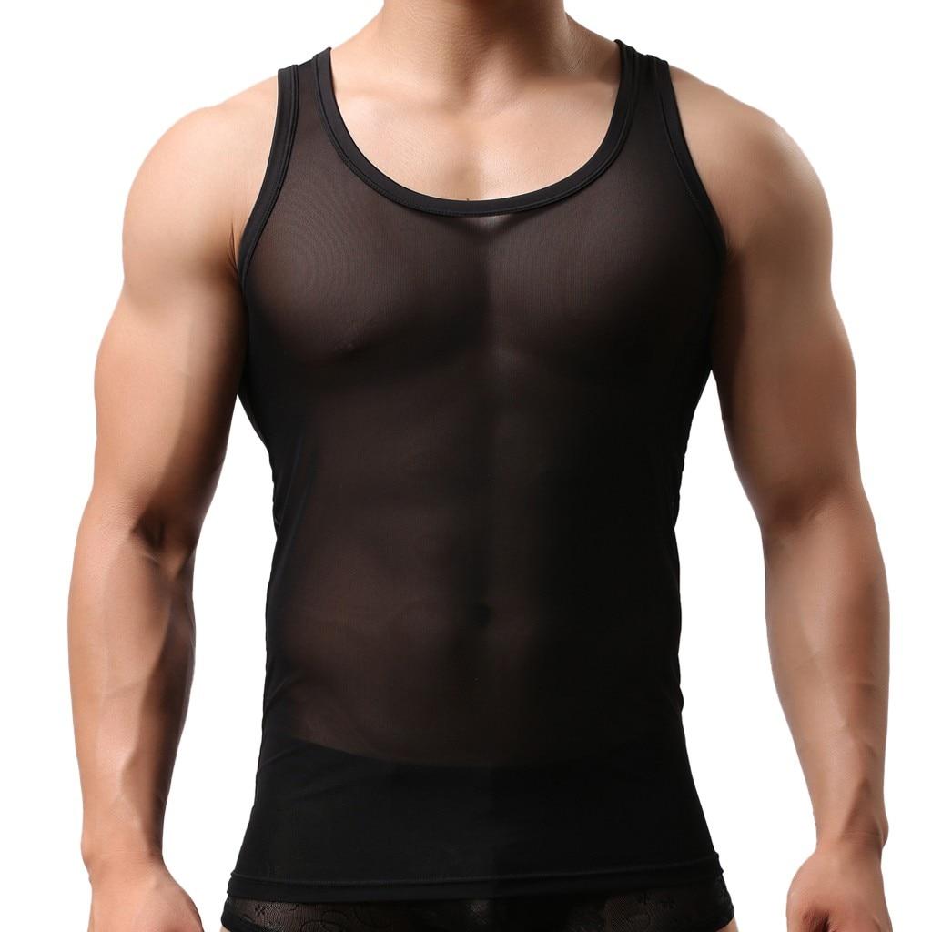Muqgew Sexy Mannen Elastische Mesh Vest Ademend Mesh Sexy Heren See-through Ademende Mouwloze Shirts Vest Casual Nachtkleding # Y4 Comfortabel Gevoel