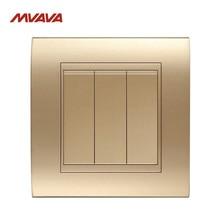 MVAVA 3 Gang 1/2 Way Control Wall Decorative Light Switch AC110V-250V Push Button Luxury Champagne Gold Switch Free Shipping цена 2017