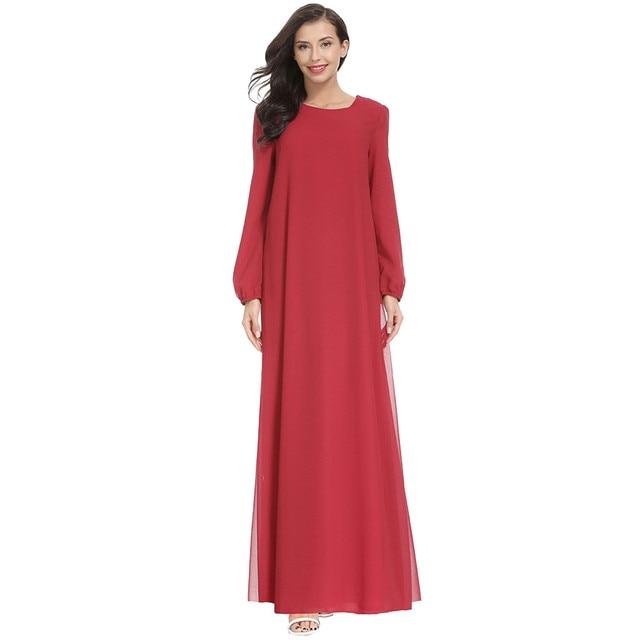 Women Fashion Elegant Muslim Plius Size Dresses Casual Solid O-Neck Ful Sleeve Chiffon Arab Islam Jilbab Dress z0415 3