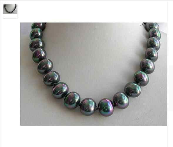 Jewelry stunning big 16mm baroque black south sea shell pearl necklace AAA style Fine Noble Natural