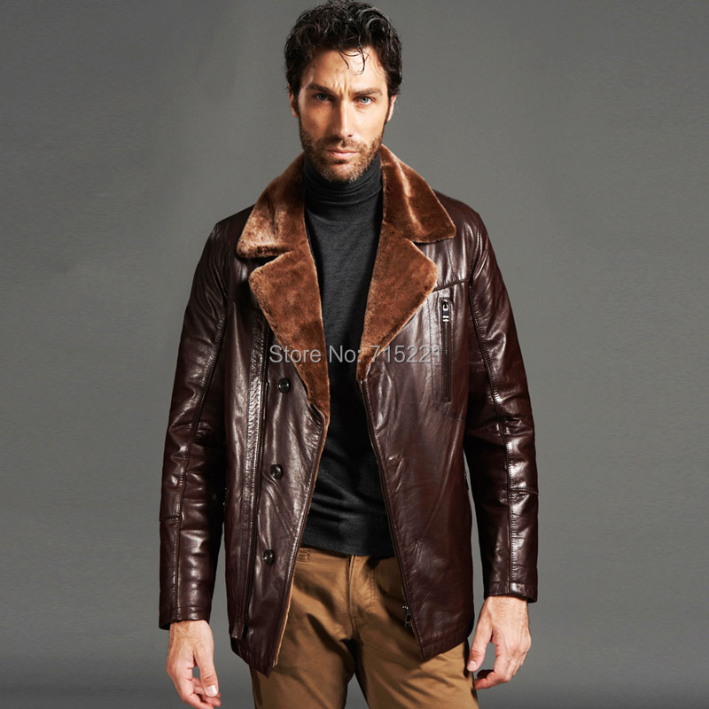 Aliexpress.com : Buy 100% natural leather jacket men brown long ...