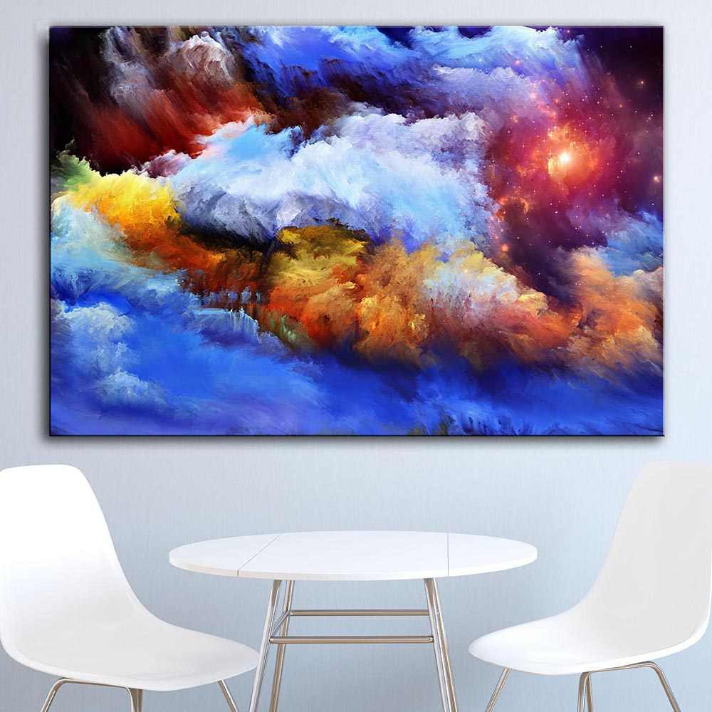 Large size Printing Oil Painting Smoke-Paints Wall painting Decor Wall Art Picture For Living Room painting no frame