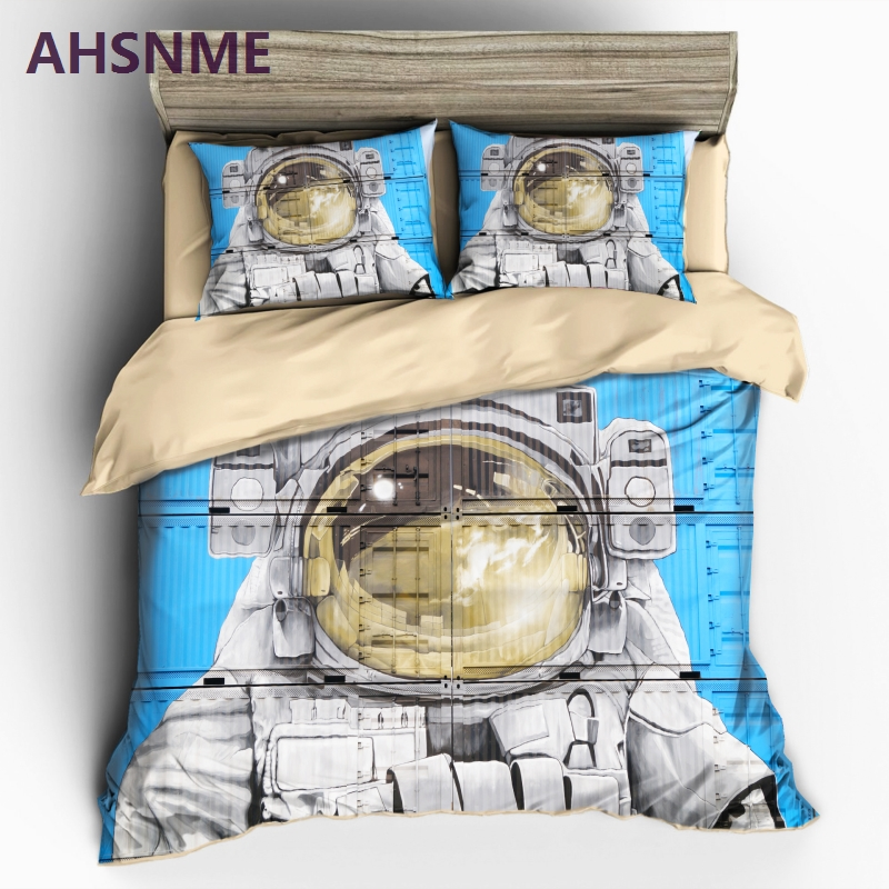 AHSNME Graffiti on Containers Pattern Bedding set Astronaut Photo Quilt Cover High definition Print Home Textiles