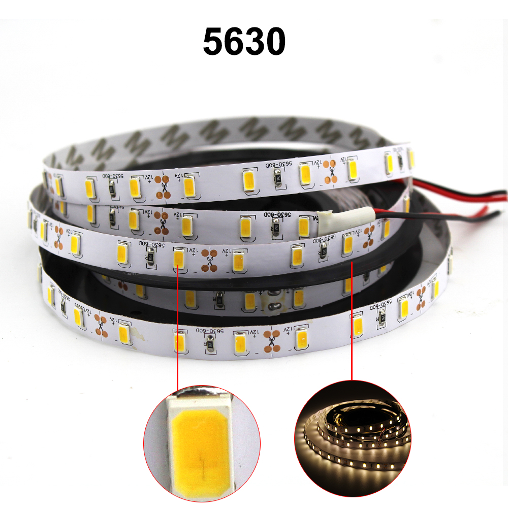 Led Strip Light tape 5630 5730 2835 3528 300led 5m non waterproof DC 12v 3000k 6500k White Warm White Red Blue Green