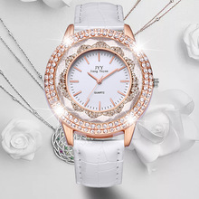 Dropship New Fashion Ladies Leather Crystal Diamond Rhinestone Watches Women Beauty Dress Quartz Wristwatch Hours Reloj Mujer