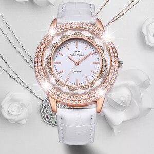 Image 1 - Dropship New Fashion Ladies Leather Crystal Diamond Rhinestone Watches Women Beauty Dress Quartz Wristwatch Hours Reloj Mujer