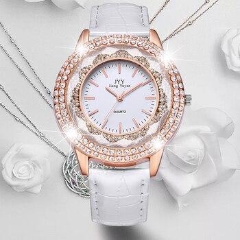 Dropship Nuovo Signore di Modo di Cristallo di Cuoio Del Rhinestone Del Diamante Orologi Donne di Bellezza del Vestito Al Quarzo Ore Orologio Da Polso Reloj Mujer