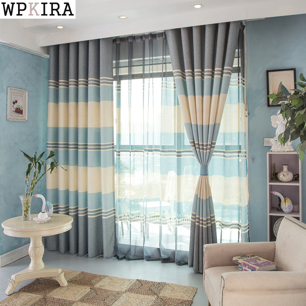 byetee] Simple Cotton Linen Stripe Kitchen Blackout Curtains For ...