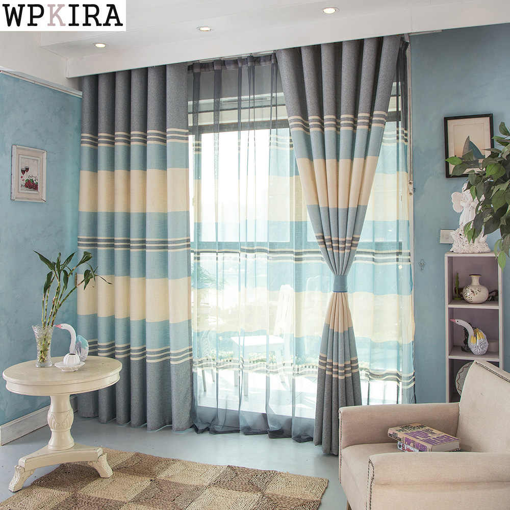 High Quality Modern blackout Curtains Striped Printed Window Curtains for Bedroom Living Room Children Curtains Panel S069&30