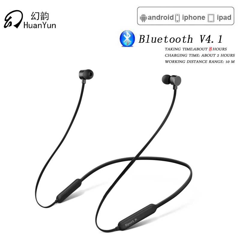 Huan Yun Bluetooth Earphone Wireless Neckband Sport Magnetic Powerful Battery  Headset Stereo Bass with Mic Bluetooth Headphone huan nuo