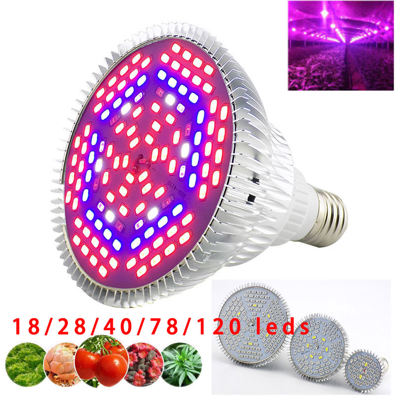 28 40 120 LED Grow Light Plant Hydroponic Growing Indoor Flower Greenhouse Aluminum Full Spectrum Bulbs Seeding Room Lamp E27
