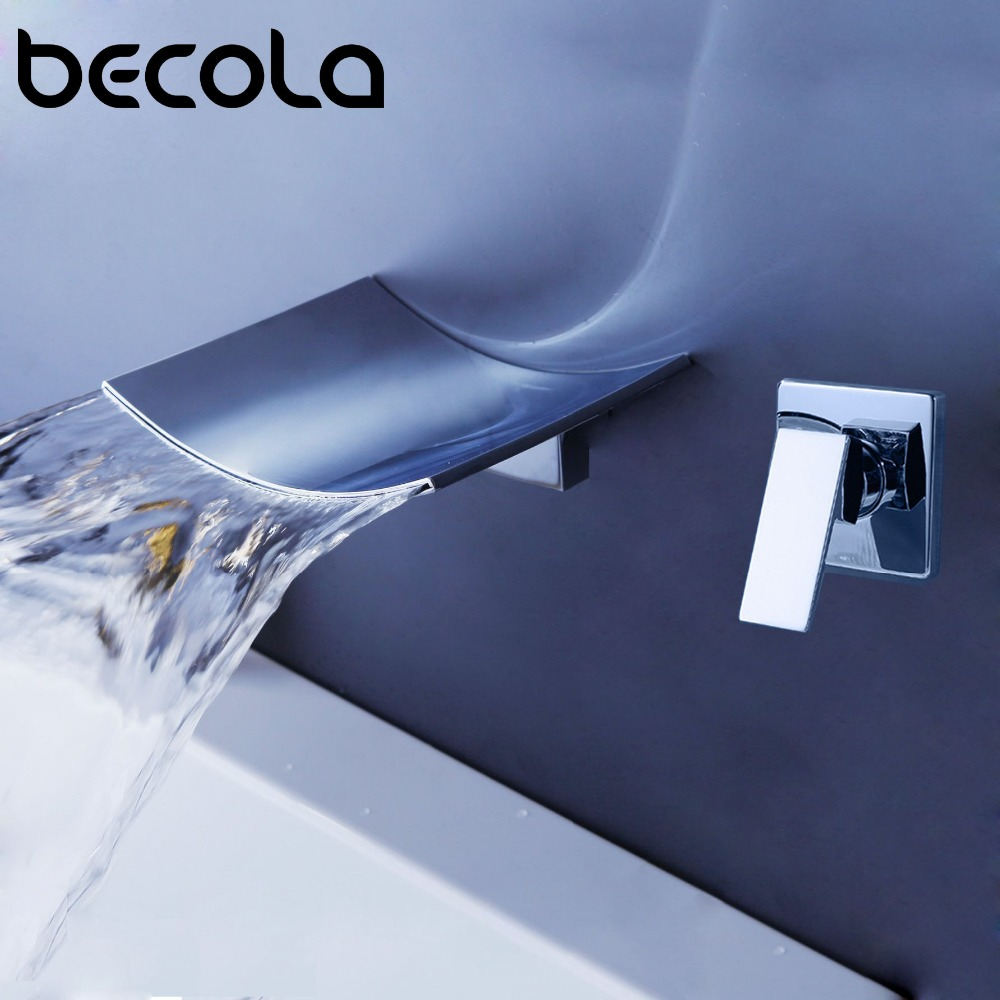 BECOLA Wall type waterfall faucet Chrome Single hole Handle Wall Mounted Bathroom Sink Faucet Hot & Cold Basin Faucet Tap B-302