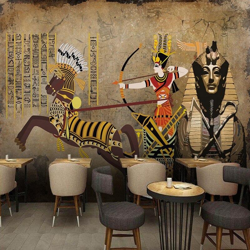 Custom photo wallpaper Retro Egyptian style mural restaurant bar wallpaper custom mural home decoration painting