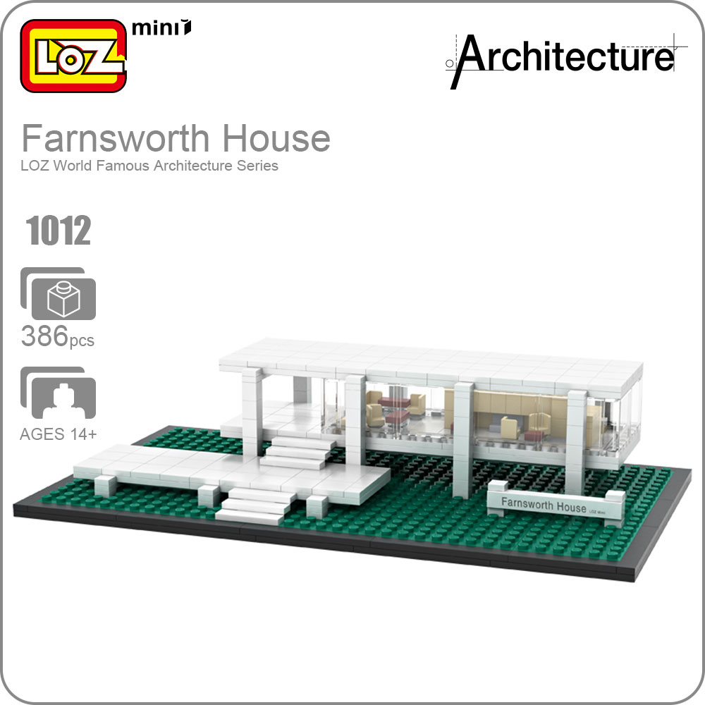 LOZ ideas Mini Blocks Farnsworth House Architecture Building Bircks DIY Toy Educational Children Gift Kids Assembly Toys 1012 hot sale 1000g dynamic amazing diy educational toys no mess indoor magic play sand children toys mars space sand