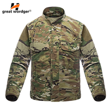 Outdoor Men's Shirt Waterproof Hiking Tactical Shirt Camouflage Military Long Sleeve Cargo Shirts Hunting Fishing Clothes