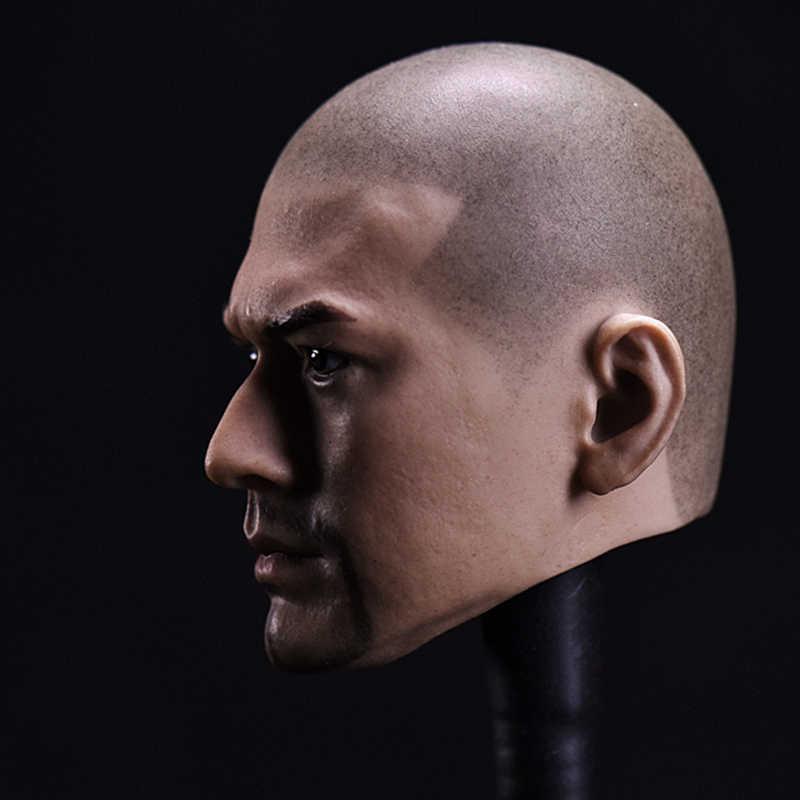 1/6 figuras de escala acessórios cabeça escultura asiática estrela jinchengwu barba careca versão para 12 hot hot quente brinquedos masculino soldado figura ação