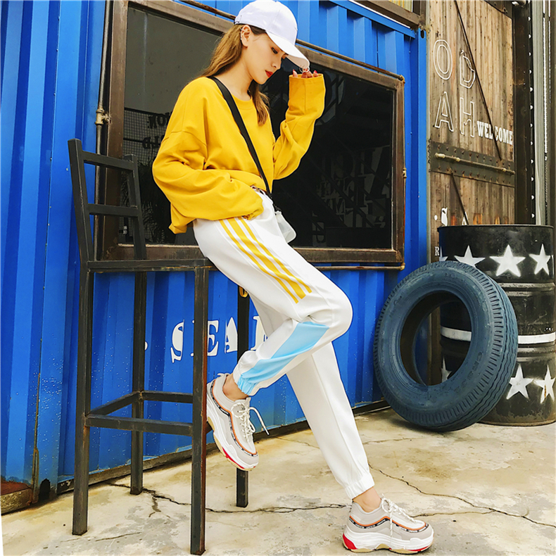 Cargo Pants Women Patchwork Long Pants High Waist Side Striped Black Trousers Student Elastic Waist Harajuku Plus Size Bottoms 51